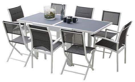 salon de jardin verre trempe cassis plateau table verre tremp 233 chaises ouverture personnes poids