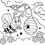 Bee Coloring Honey Pages Bees Printable Sheets Surfnetkids Spring Colouring Hive Flower Queen Flowers Cartoon Cute Worksheets Beehives Animal Buzzing sketch template