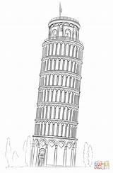 Pisa Tower Coloring Drawing Leaning Pages Sketch Drawings Draw Von Turm Cartoon Easy Tour Building Italy Pencil Printable Tutorials Pizie sketch template