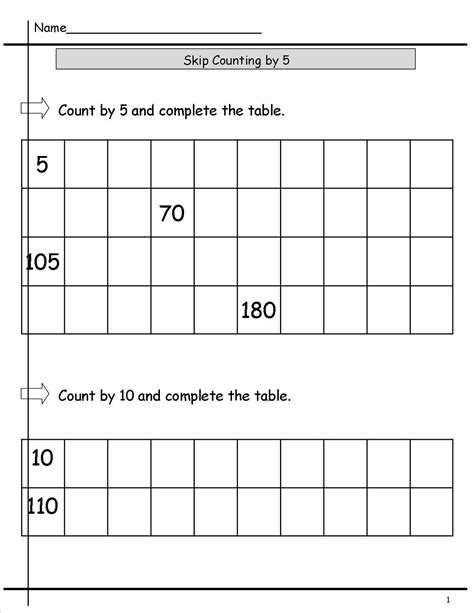 printable skip count by 5 worksheets activity shelter