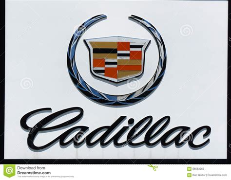 Cadillac Automobile Dealership Sign And Logo Editorial