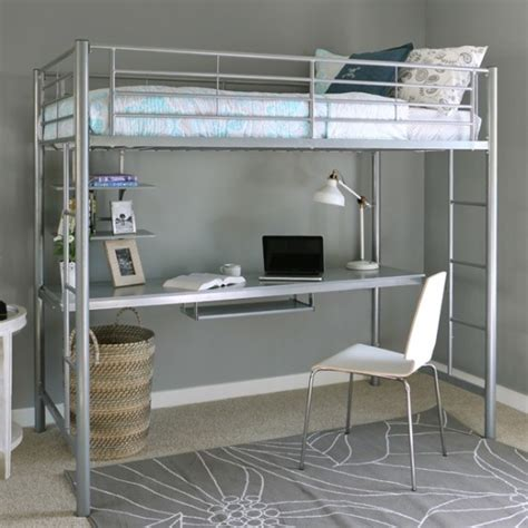 twin metal loft bed with desk metal loft bed with desk underneath twin size silver
