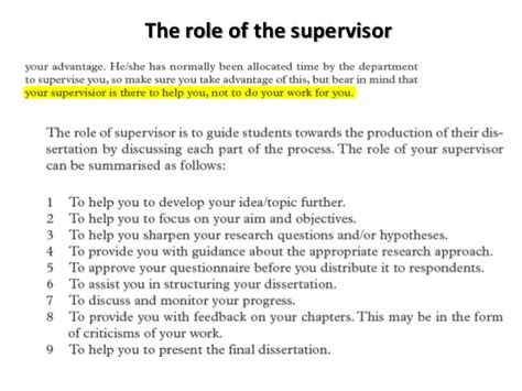 Roles Of The Supervisor & Reseach Schedule
