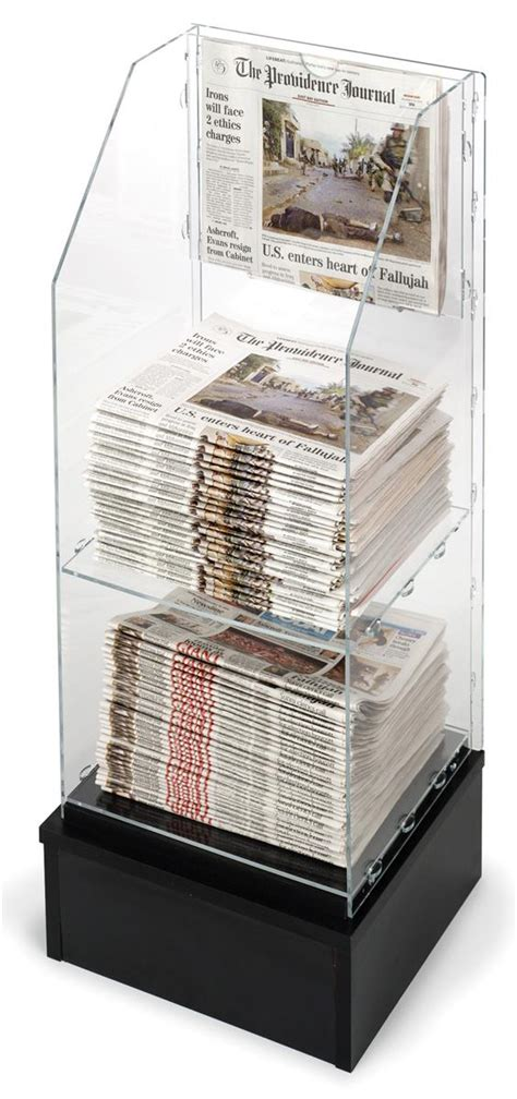 standing newspaper rack acrylic  black base