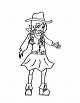 Cowgirl Coloring Little sketch template