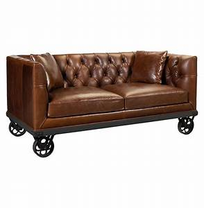 Mouille Industrial Loft Wheels Rich Brown Leather Sofa