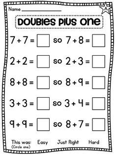 16 Best Images Of Near Doubles Addition Worksheets  Doubles Plus One Worksheet, Adding Doubles