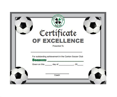 Football Certificate Templates by Soccer Certificate Template Free Football Certificate