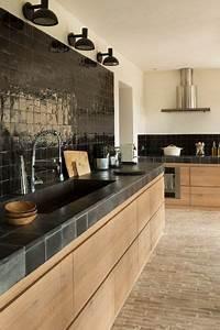 Obsession une cuisine amenagee bois et noir for Idee deco cuisine avec cuisine noir et bois