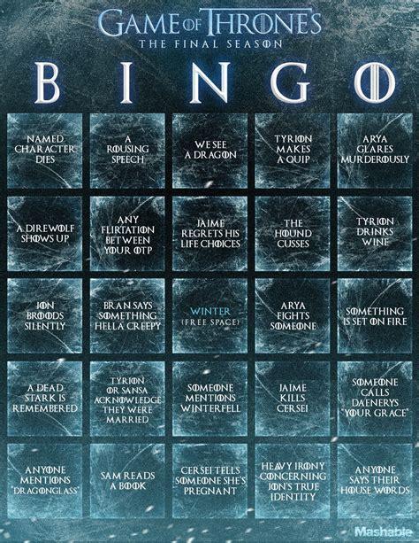 game  thrones season  bingo card photo