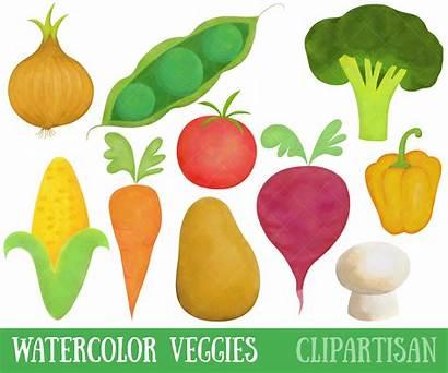 Vegetables Clipart Happy Clip Watercolor Kawaii Healthy