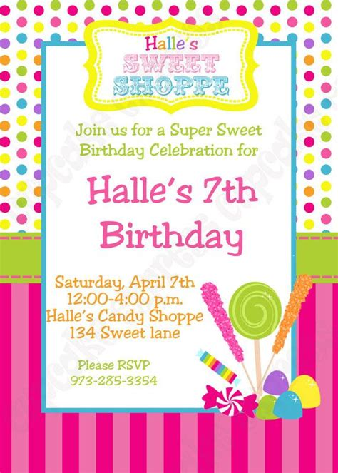 Candy Shoppe Birthday Party Invitations Candyland