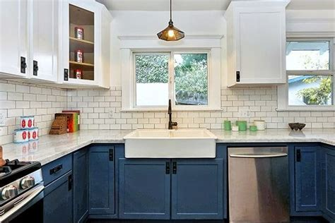 blue and white kitchen cabinets c b i d home decor and design color for kitchens the