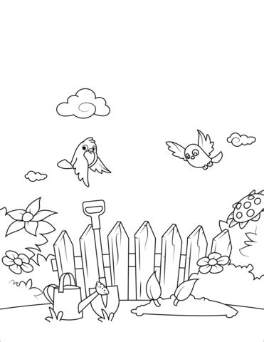 birds fly   garden coloring page  printable