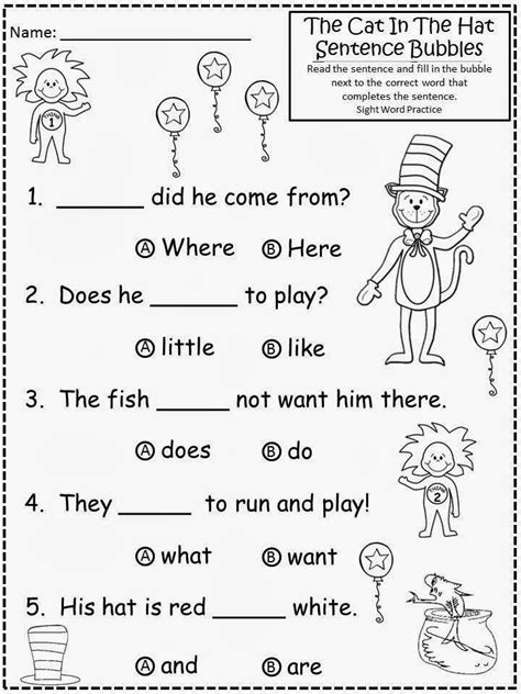 free cat in the hat sentence bubbles with sight word practice for educational purposes only