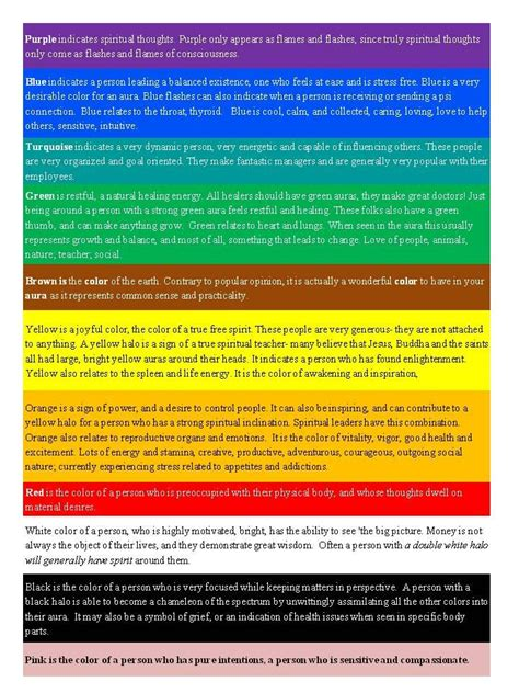 aoura colors aura color meaning chart deadheading