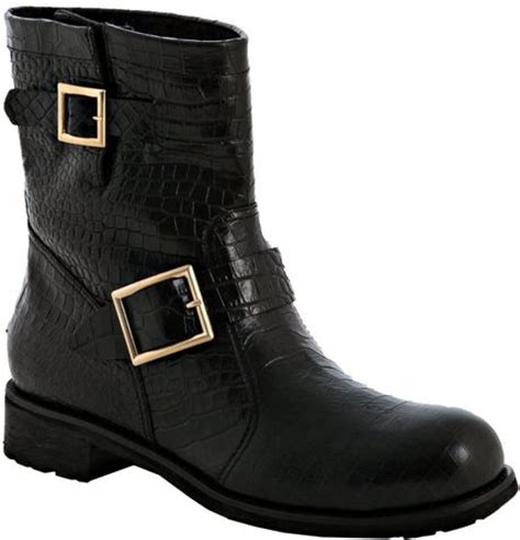 short biker boots jimmy choo black croc embossed youth shearling lined short