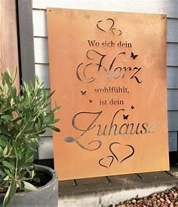 Tafel Für Draußen : spruch tafel zuhause herz garten schild metall rost deko ~ Sanjose-hotels-ca.com Haus und Dekorationen