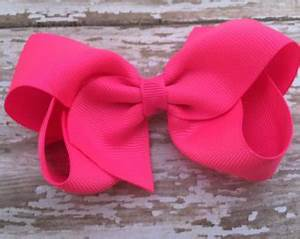 Pink bow bobby pins neon pink leather hair bow Girls hair