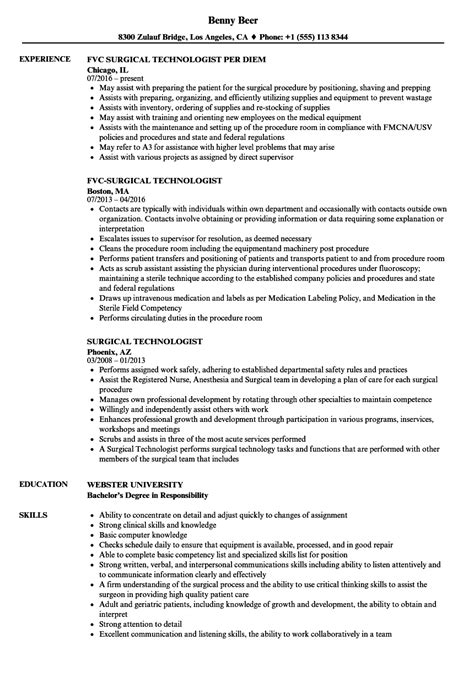 Surgical Tech Resume by Surgical Technologist Resume Sles Velvet