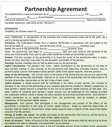 partnership agreement template microsoft word templates