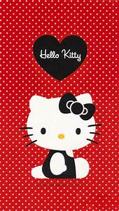 Black Hello Kitty with Red Dot Background Wallpaper - Free ...