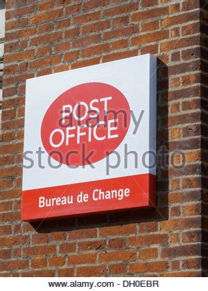 post office bureau de change rates post office bureau de change sign uk stock photo royalty