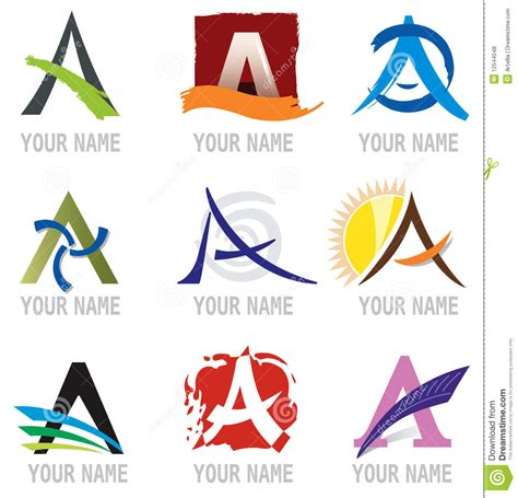set of icons and logo elements letter a vector illustration stock vector illustration of