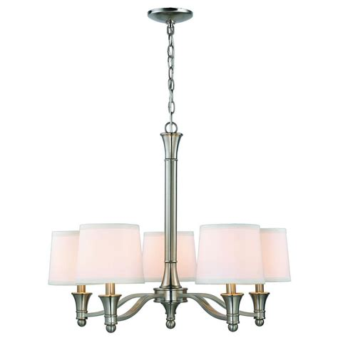 hton bay 5 light brushed nickel chandelier with white