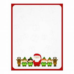 santa elves and reindeer christmas letter paper With personalized letter paper