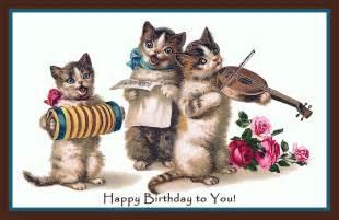 happy birthday cat three cats instruments happy birthday refrigerator magnet