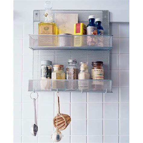 Silver Spice Rack by Silver Mesh Mounted Spice Rack With Hooks In Spice Racks