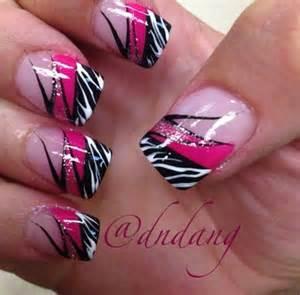 Pink zebra nails nail art print black hot
