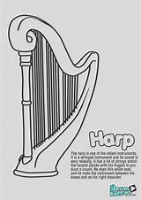 Coloring Harp Pages Instrument String sketch template