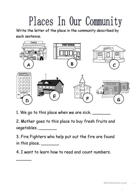 places   community worksheet  esl printable