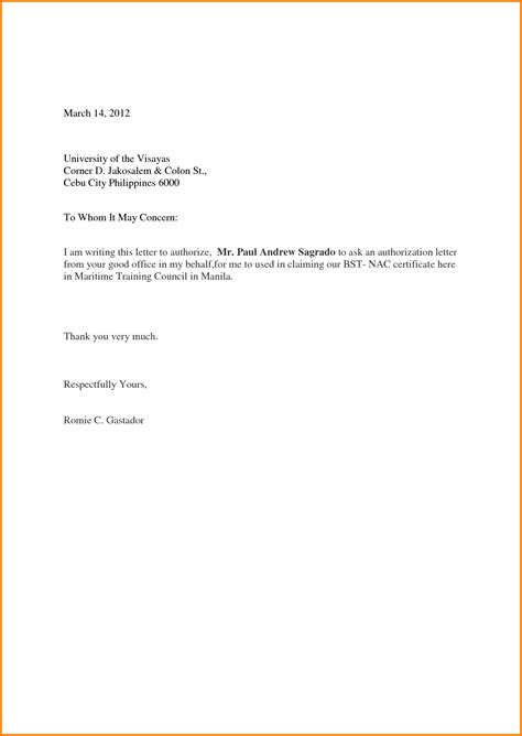authorization letter sample act behalf format samples