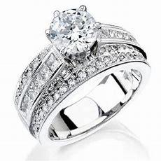 3 Band Round Pave And Channel Set Princess Diamond