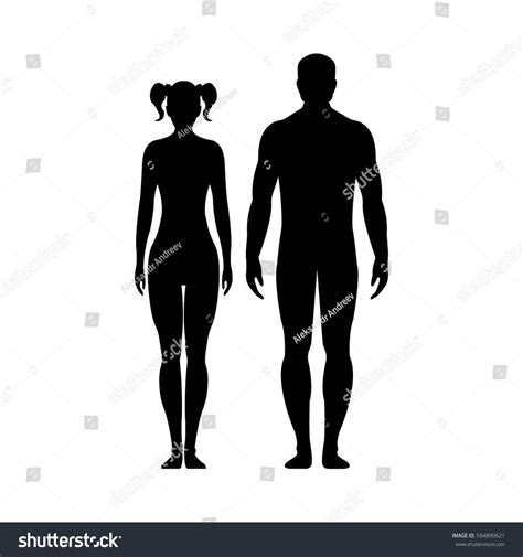Man and woman Human front side Silhouette Isolated on