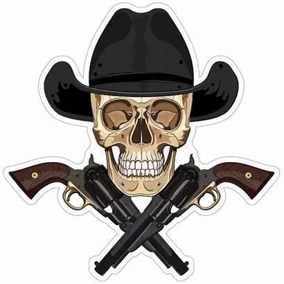 Skull Cowboy Crossed Pistols Stickers Decals Sticker