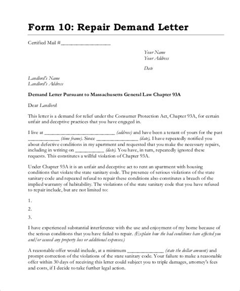 demand letter template demand letter sle 14 pdf word documents 8100