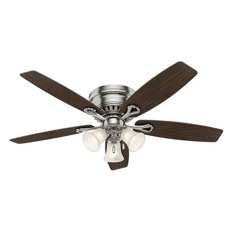 52 brushed nickel ceiling fan hunter oakhurst 52 in indoor low profile brushed nickel
