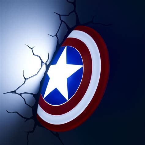 marvel 3d wall light iron captain