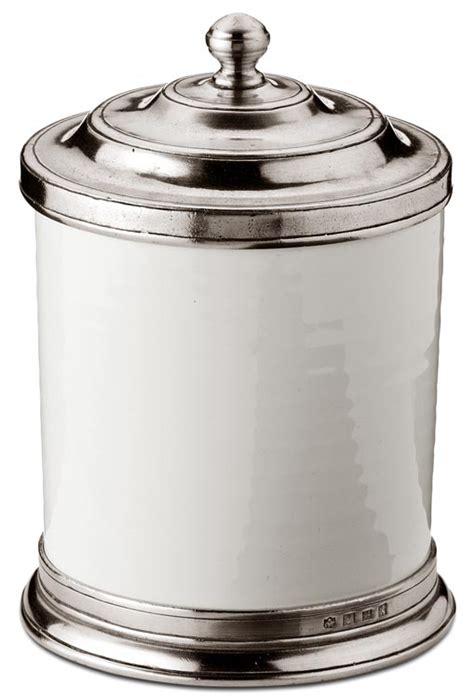 Kitchen Canisters Pewter by Kitchen Canister Grey And White Pewter And Ceramic Cm