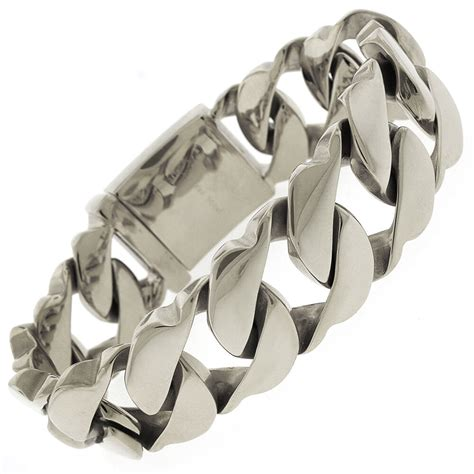 stainless steel mens thick fancy cuban curb link silver