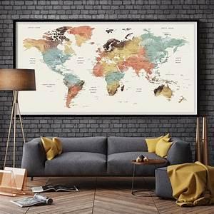 Große Bilder Aufhängen : gro e wand kunstwelt karte push pin print aquarell ~ Lateststills.com Haus und Dekorationen