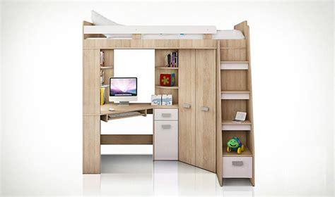 lit mezzanine armoire bureau lit combin en hauteur enfant avec bureau et armoire en bois