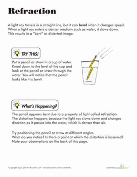 refraction worksheet education