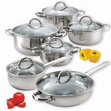 12 Piece Induction Cookware Set Stainless Steel Cooking