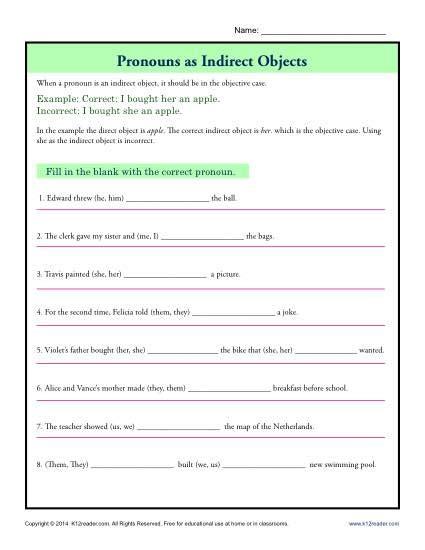 pronouns as indirect objects parts of a sentence worksheets