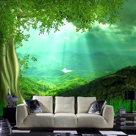 nature wall art setting  living room wallpaper